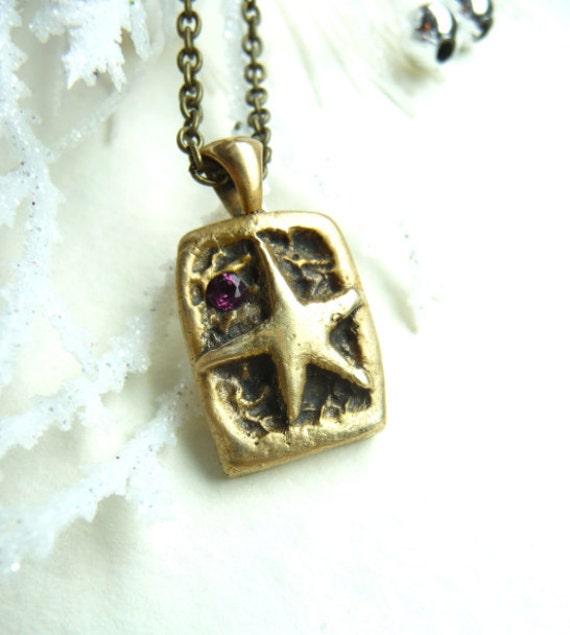 Autumn star pendant with rhodolite garnet gemstone, by Dreamofadream
