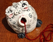 Sheep Shaped Ceramic Yarn Bell MADE TO ORDER