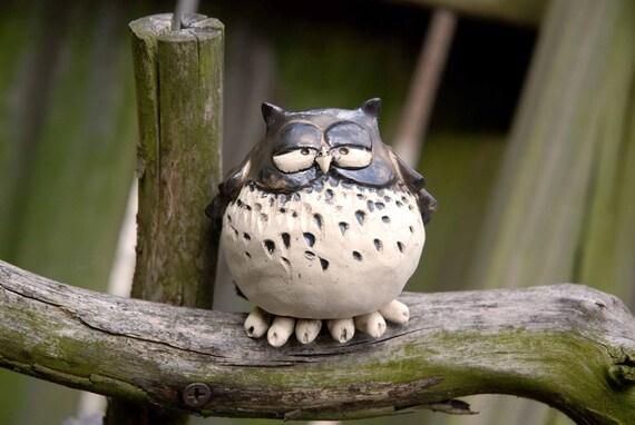 Owl ocarina whistle gold black and white