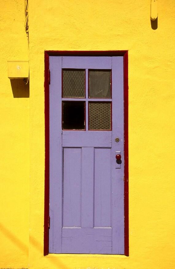 Purple door, yellow wall