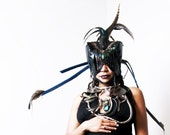 BlackSnow FalconHood Headdress. Black Leather Feather Mask
