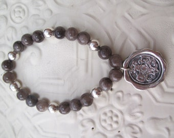 Wax seal bracelet in fine silver