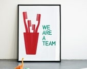 We Are a Team Print, Mother's Day Print, Father's day print, Red & emerald Print, A3, A4, Red Family Print, Family Wall Decor, Nursery Art
