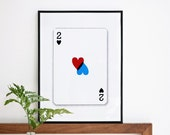 2 of hearts. Valentines day or anyday. Screenprint A3 or 11.7 x 15.7 in. Love - romantic print