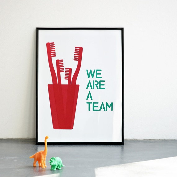 We are a team print, Mother's Day Print, Father's day print, Red & emerald Screenprint, A3 or 11.7 x 15.7 in, Red Family Handmade Print