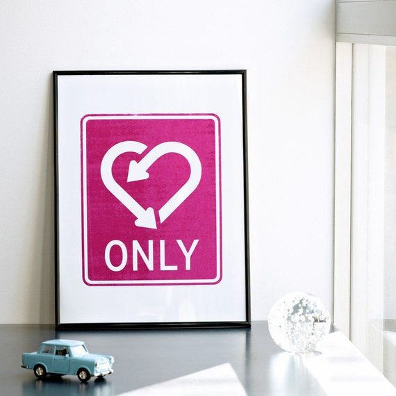 "SALE ""half off"" Only love. Screenprint. Valentines day print  11.8 x 16.5 in. (A3)"