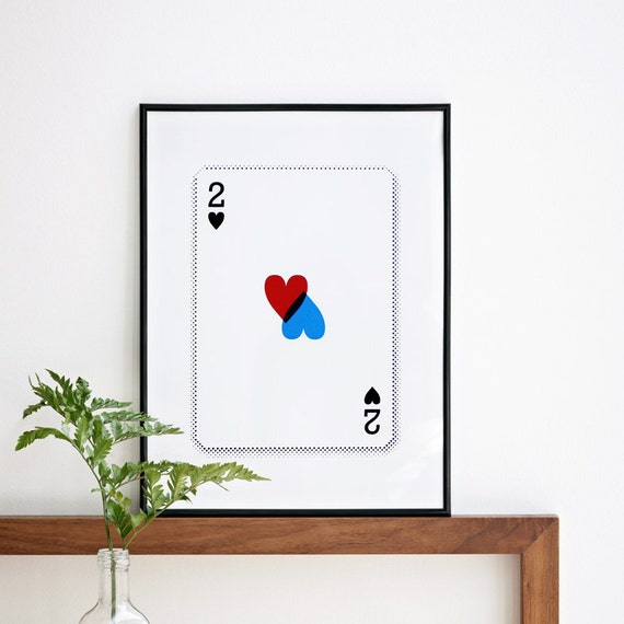 2 of Hearts Valentines Day or Anyday, Cards Screenprint, A3 Size, 11.7 x 15.7 in, Romantic Print, Gift Ideas, Wedding Gift, Wedding Decor
