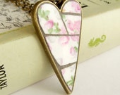 Primitive Mosaic Heart Pendant - Pink Flowers Green Leaves Broken China Jewelry JAB012