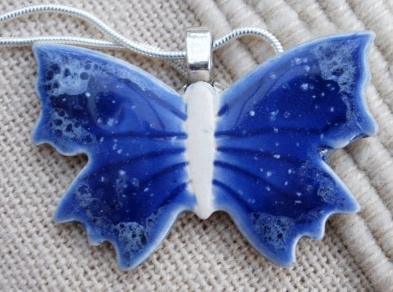 Porcelain butterfly pendant on silver plated chain