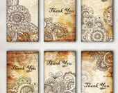 Oriental, Henna drawing, Thank You, Om, Tags -  Digital Collage Sheet, Download and Print Jpeg Clip Art Images 1