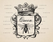 Digital Image Download Sheet, - Queen, bee, the coat of arms -  Transfer To Pillows ,Burlap Bag,Tags, or Print on paper  No 233