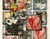LOve and Hearts, Butterfly, Old Wall for  resin pendant  -  Digital Collage Sheet, Download and Print Jpeg Clip Art Images(9)