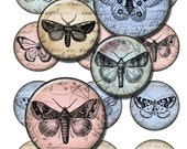 Butterflies on vintage postcards letters, pink blue green  download digital collage sheet  round label hang gift tag card resin pendant (21)