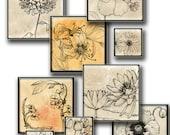 Vintage botanical Flowers  for resin pendant  1 in   squares  -  Digital Collage Sheet, Download , Print Jpeg Clip Art Images 130