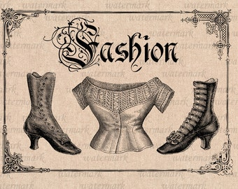Digital Image Download Sheet, - Victorian fashion,Corset, Boots -   Transfer To Pillows ,Burlap Bag, or Print on paper