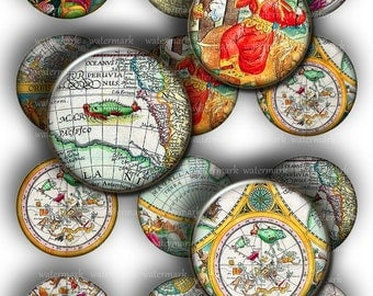 Old World  Maps Circles 1in  and  2in   -  Digital Collage Sheet, Download for Resin Pendant, Round Circle printable (18)