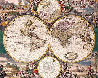 Vintage Old World  Map illustration 18th century Digital Image Download sheet, Transfer To fabric or Print on paper, No 010