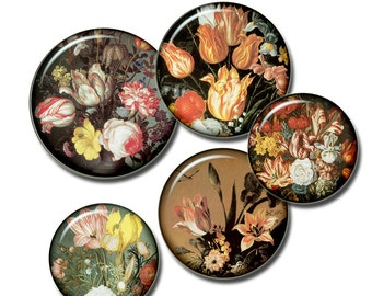 SALE Still life Flowers  paintings by Dutch painters 16-17th -  Digital Collage Sheet, Download for Resin Pendant, Round Circle Images (13)