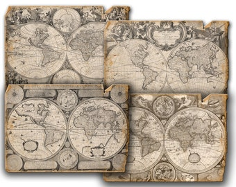 Vintage  Antique Old World  maps and background digital paper -  Digital Collage Sheets Download Scrapbooking Supplies decoupage 4 set