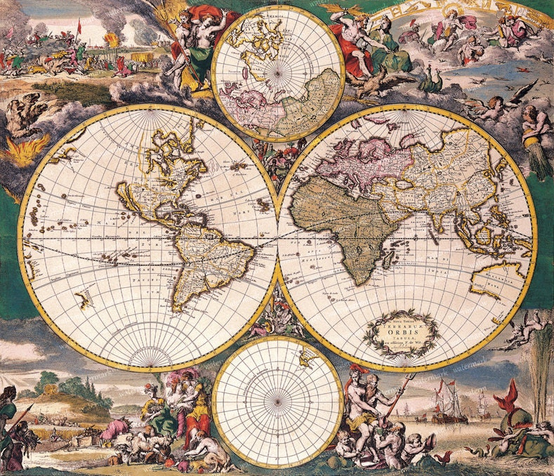 Vintage old world map illustration 18th century digital image vintage old world map illustration 18th century digital image download sheet transfer to fabric or print on paper no 010 gumiabroncs Images