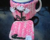 SALE Pink & Cream Mug Cosy Set with Flowers.