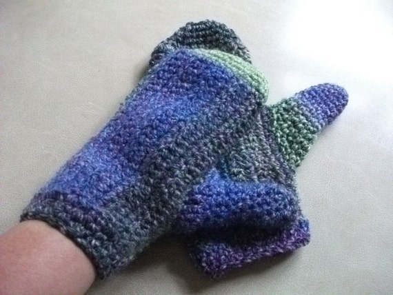 SALE Large Crocheted Mittens in Greens, Blue & Purple for Men or Women.. Accessories, Winter Warmers, Hand warmers,
