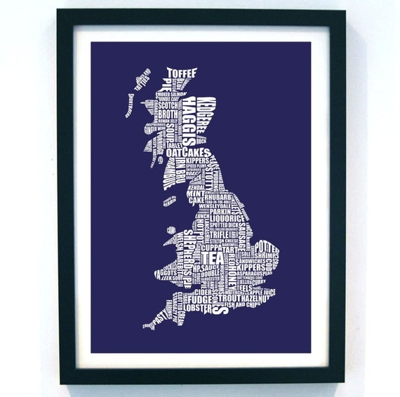 British Gastronomy type map // limited edition screen print