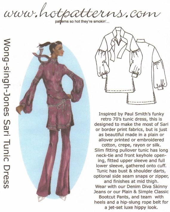 HotPatterns Wong-Singh-Jones Sari Tunic PATTERN sizes 18-26