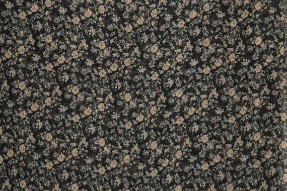 HPF 7007 2 yards vintage-style mini floral print chiffon-georgette on a black ground.