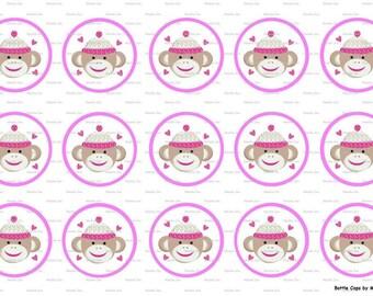 """15 Sock Monkey Images Digital Download for 1"""" Bottle Caps (4x6)"""