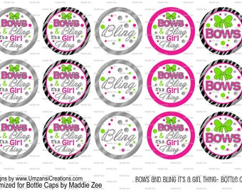 """15 Bows and Bling it's a Girl Thing Digital Download for 1"""" Bottle Caps (4x6)"""