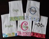 Personalized Burp Cloths with Ribbon   Set of 3    You choose your font & ribbon