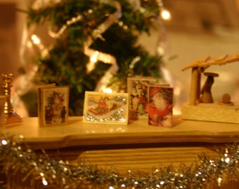 Set of 8 Dollhouse Miniature Victorian Christmas and Holiday Cards