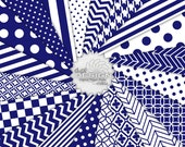 MIDNIGHT - Dark Blue Digital Paper & Printable Background Patterns - Digital Blue and White Scrapbook Paper - Instant Download (DP282A)