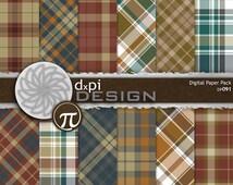 Fall Plaids Digital Scrapbook Paper & Background Images - Digital Plaid Papers in warm autumn colors - Instant Download (DP091)