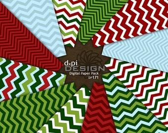 Christmas Chevron Digital Paper and Printable Backgrounds - Red, Green, & Blue Digital Chevron Scrapbook Paper - Instant Download (DP171)