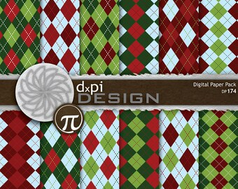 Christmas Argyle Digital Paper and Christmas Backgrounds - Red, Green, and Blue Argyle Digital Scrapbook Paper - Instant Download (DP174)
