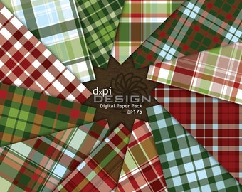 Digital Christmas Plaid Scrapbook Paper Background Images - Digital Christmas Plaid Paper in Red, Green, and Blue - Instant Download (DP175)