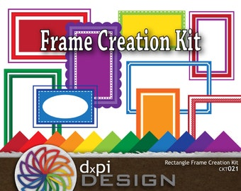 Digital Rectangle Frames - Create Unique Digital Labels, Frames, and Tags for Scrapbooking, Cards, and Crafts - Instant Download (CKT021)
