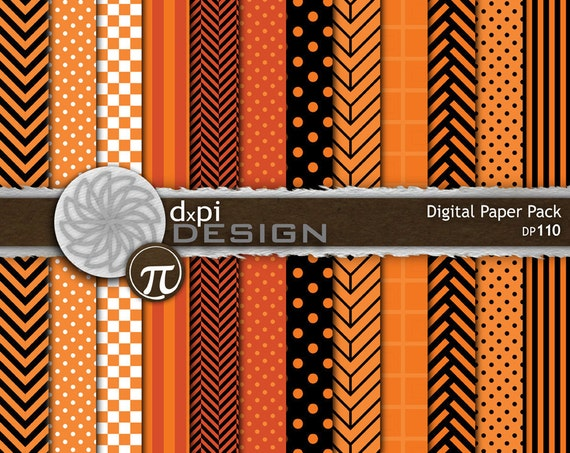 Black & Orange Halloween Digital Paper Background Designs - Stripes, Polka Dots, Chevron, and Checkered Patterns - Instant Download (DP110)