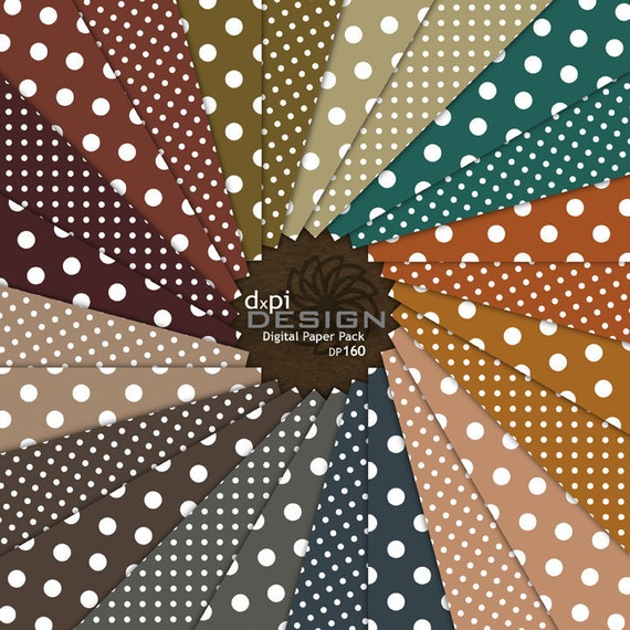 POLKA DOTS - Digital Background Papers in neutral and autumn colors for Scrapbooking, Photography, Card Making and Crafts (DP160)