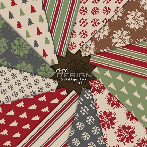 Vintage Christmas Scrapbook Paper and Background Designs - Printable Vintage Holiday Images & Digital Paper Pack - Instant Download (DP193)