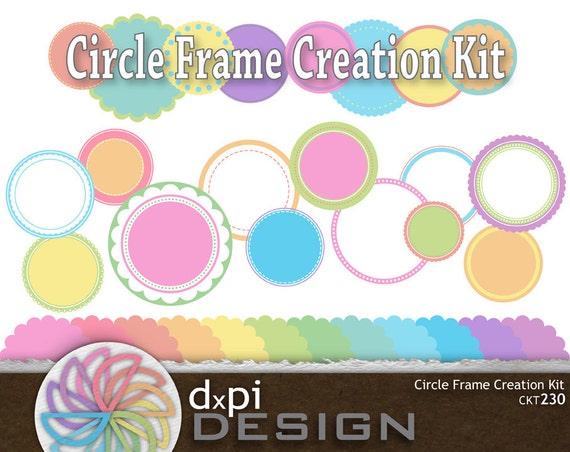 Pastel Digital Circle Frames  - Printable Labels and Tags for Cupcake Toppers, Scrapbooking, Cards, and Crafts - Instant Download (CKT230)