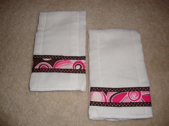 Pink and Brown Decorated Cloth Diaper Burp Cloths set of 2