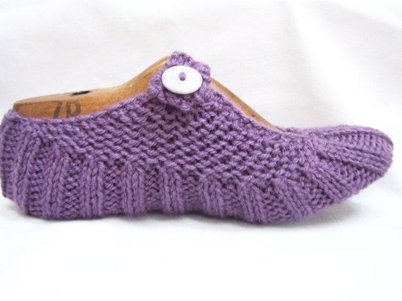 Knit Women's Travel Pocket slipper Socks- Dusty purple READY TO SHIP