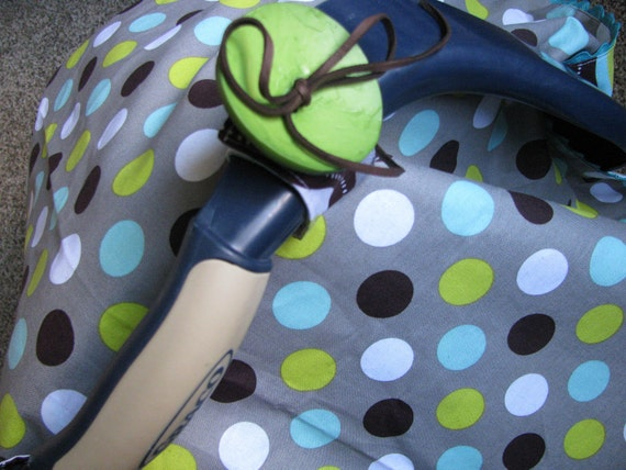 Aqua & Green Dots/Waves Reversible Carseat Cover