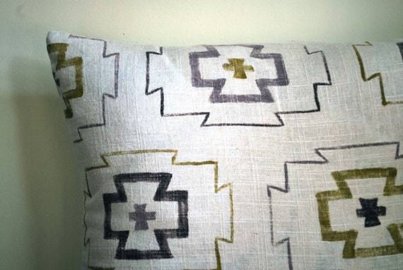 hand painted gayaludi pillow in lavender, olive and brown tribal, native american inspired