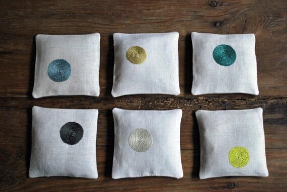 hand embroidered linen sachet--lavender or balsam fir