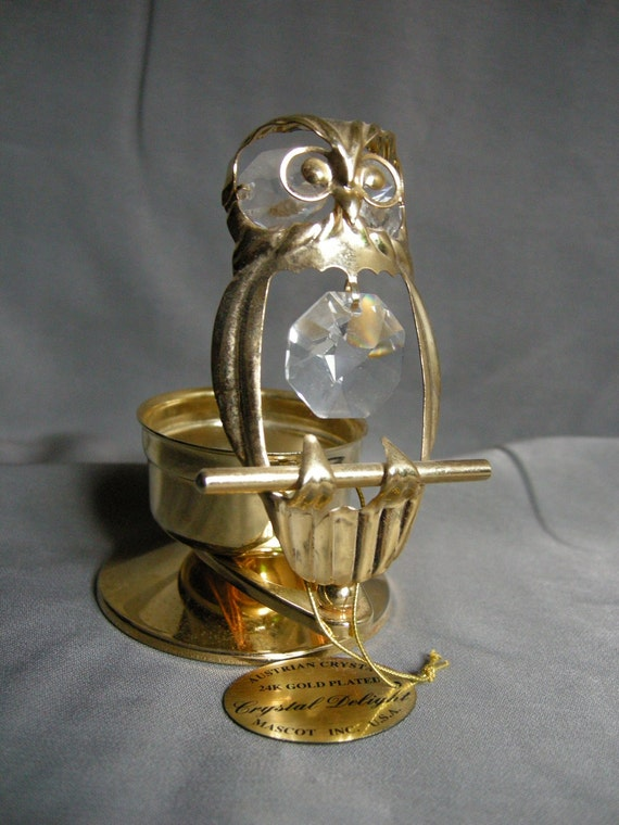 Austrian Crystal 24K Gold Plated owl candle holder