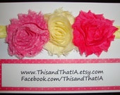 Yellow shimmer elastic headband and Light Yellow and Hot Pink and Pink Polka Shabby Chiffon frayed rosettes. Spring/Summer